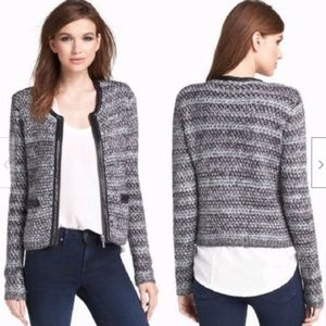 Joie Jacolyn B Leather Trim Boucle Jacket